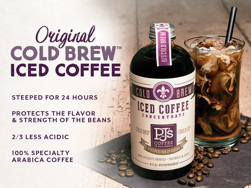 Cold Brew Coffee.  Steeped for 24 Hours. Protects the flavor and strength of the beans. 2/3 less acidic. 100% Specialty Arabica Coffee.