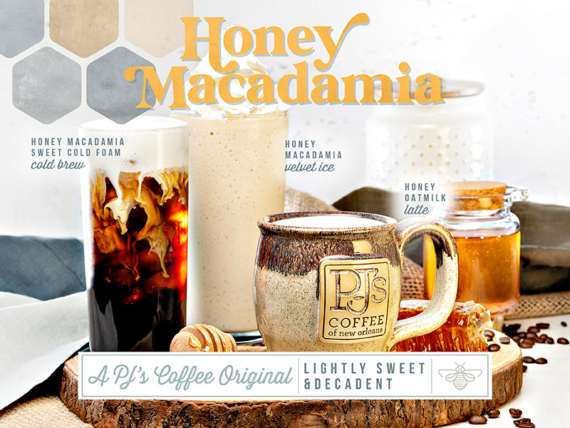 See whats buzzin.  Honey Macadamia Creme, smooth cold brew coffee, low acidity, steamed with milk, sweetened.  Honey Macadamia Cold Creme and Honey Lavender Velvet Ice also available.