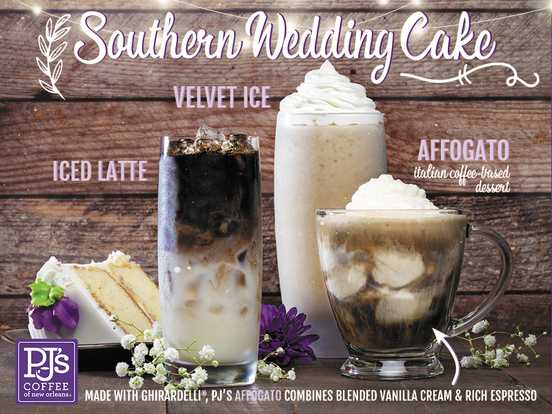 Southern Wedding Cake.  Made with Ghirardelli®, PJ's New Affogato combines blended vanilla cream topped with rich espresso. For a Limited Time.