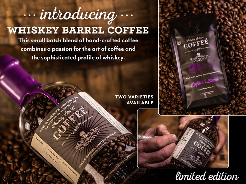 Whiskey Barrel Coffee.  Two varieties now available. Shop online