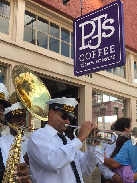 Jazz Band playing outside PJ's Coffee location in French Quarter